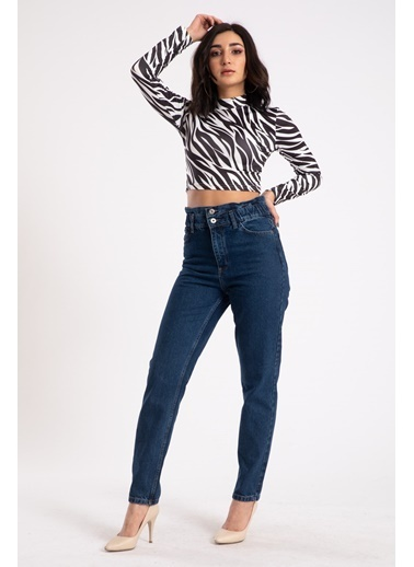 Madame Sare  Kadın Siyah Zebra Desenli Yarım Balıkçı Crop Bluz Siyah